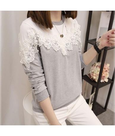 Trendy New Lace 5XL Plus Size Autumn Korean Style Women Hoodie Female Elegant Long Sleeve Hoodies Patchwork Females Sweatshi...