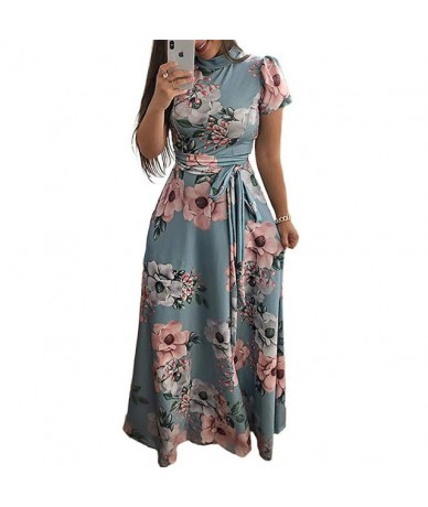 Long Maxi Dress 2019 Boho Style Floral Print Women Summer Beach Dress Casual Short Sleeve Bandage Party Dress Plus Size Vest...