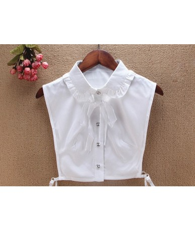 Detachable collars Shirt Lace shirt fake collar Bow Choker Neck Lapel solid color lace Embroidery wooden Half Shirt Fake Col...