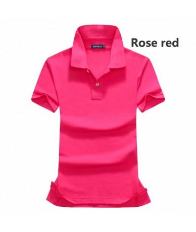 High quality 2018 Summer cotton womens short sleeve polos shirts womens polos shirts fashion lapel polos solid color womens ...