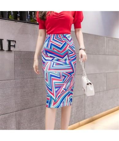 Women's Pencil skirt 2019 New Cartoon Mouse Print High Waist Slim Skirts Young Girl Summer Large Size Japan Female Falda - 3...