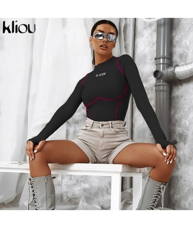 women skinny bodysuit reflective letter print long sleeve with thumb hole rompers 2019 new female fitness short playsuit - B...