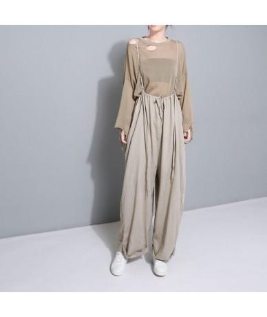 2019 New Spring High Waist Drawstring Loose Big Size Long Wasy Wearing Wide Leg Pants Women Trousers Fashion JF545 - khaki -...