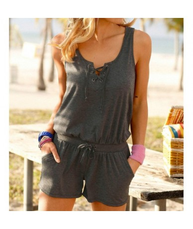 Beach Summer Women Playsuits Rompers Solid Sleeveless Jumpsuits Shorts Pockets Casual Playsuit Overalls Plus Size XXL GV921 ...