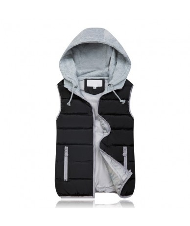 2018 New Spring Winter Solid Women Plus Size Slim Vest Women Parkas Cotton Jacket Sleeveless Hooded Casual Colete Jacket - b...