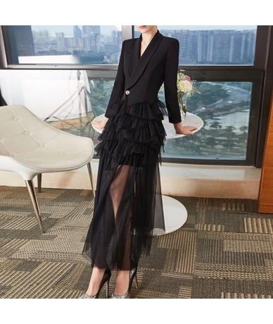 Summer Formal Party Dress Pleated Mesh Women Dresss V Neck Long Sleeve High Waist Button Female Dresses 2019 Fashion - black...