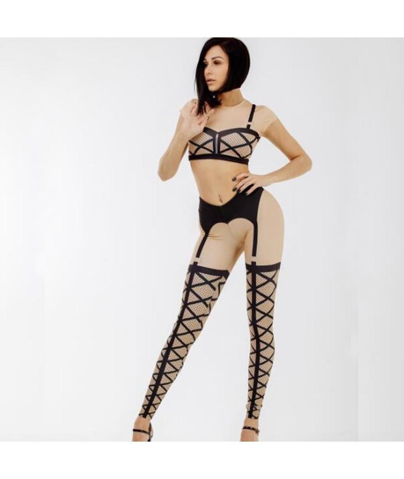 New Women Bandage Printed Leggings Thick Beige Black Sexy Club Dance Leggins High Elastic Lace Printed Long Pants - 4A306808...