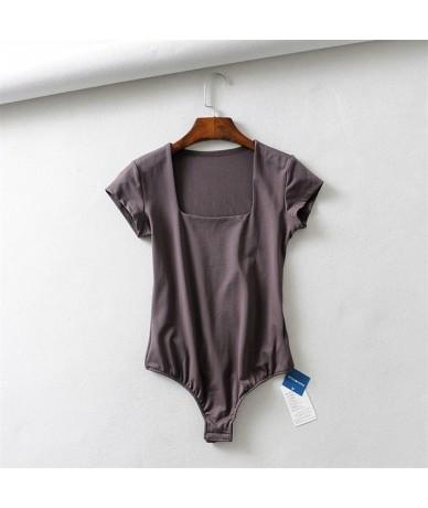 Women Square Neck Bodysuit with Cap Sleeve - grey - 4W3096229572-4