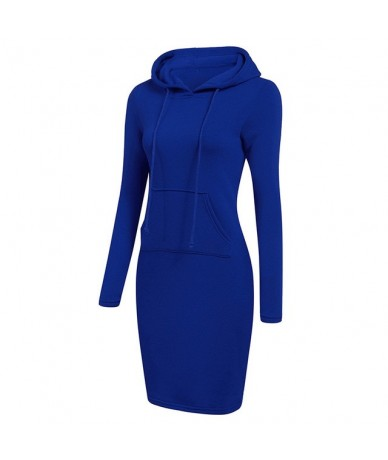 Hoodie Dress Autumn Winter Warm Sweatshirt Long-sleeved Dress 2019 Woman Clothing Hooded Collar Pocket Design Simple Woman D...