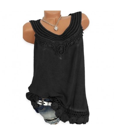 Summer Tank Top Women Sleeveless Lace Patchwork Solid Vest Ladies White / Black Casual Women Tops - black - 5S111216294987-1