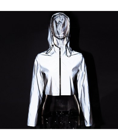 2019 Spring New Reflective Female Jacket Casual Sport Hooded Short Coat Women Crop Top Casaco Feminino Manteau Femme - Gray ...