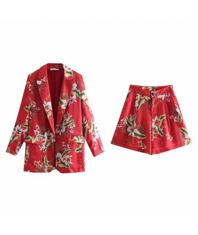Print Floral Loose Blazers Outwears Women Boho Set Lady Suits Vintage Office Lady Blazers Shorts Casual Female Bottoms - Set...