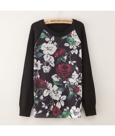 2018 Print Pullover Sweatshirts Floral Autumn Long Sleeve Women Causal Loose Plus Size Knit Sweatshirts Femme - g32 - 493998...