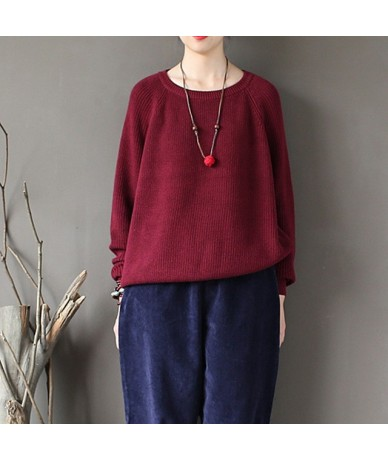 2019 Fall New Women Warm Sweater Winter Solid Color Pullover Knitted Cloths Cotton Loose Casual O-neck Female Sweaters - Red...