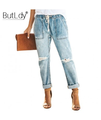 Distressed Knee Ripped Long Jeans Women Summer 2019 Holes Loose Trouser Jeans Drawstring Elastic Waist Pockets Denim Jeans P...
