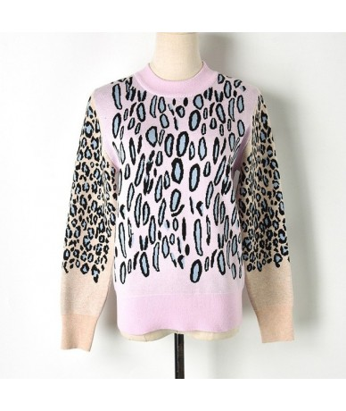 2018 Leopard Print Contrast Color Winter Sweater Women Full O-Neck Womens Jacquard Knit Sweater Fall Causal Loose Pullovers ...