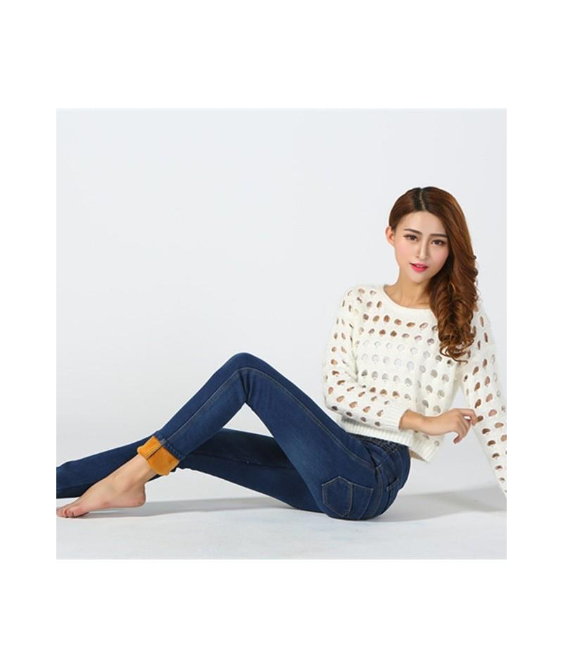 Winter Women's Jeans With High Waist Modis Black Jeans Fleece Woman Plus Size Denim Pants Female Jeans Large Size - Blue - 4...