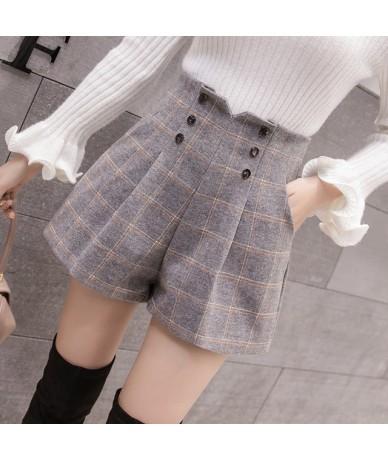 Women Woolen Shorts 2019 Autumn Winter New Fashion High Waist Double-breasted Wool Shorts Ladies Casual Wide Leg Shorts - Gr...