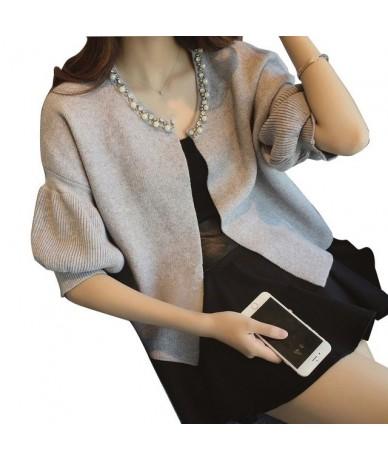 2018 Women Knit Cardigan Sweater Coat Female Fashion Knitted Short Jacket - Gray - 4G3062880952-1