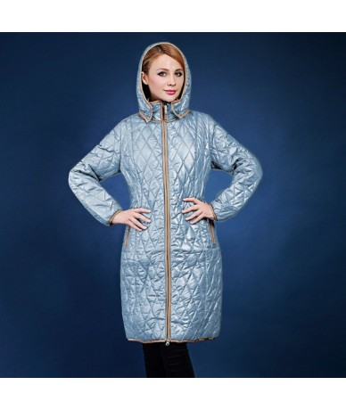 winter jacket women Slim hit the color zipper hooded padded jacket European and American fashion coat plus size 48-58 VLC-VQ...