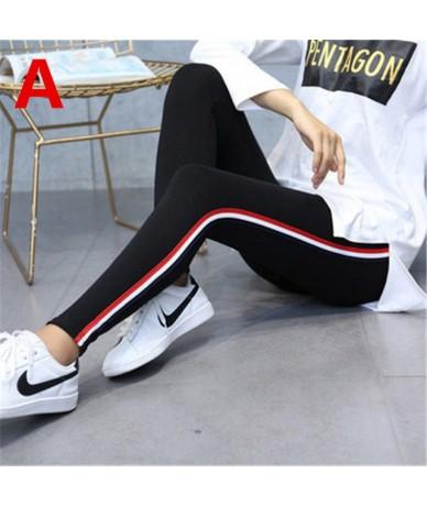 Women High Waist Pencil Pants Side Stripes Casual Cotton Leggings Plus Size 5XL Fitness High Elastic Slim Trousers Female - ...