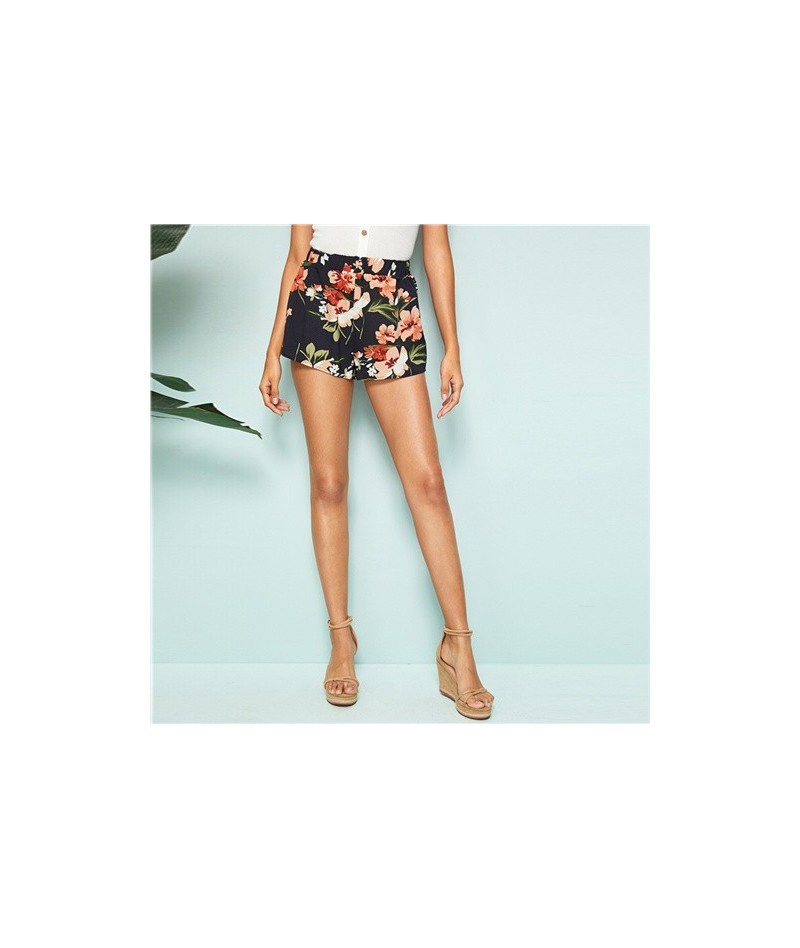 Multicolor Elastic Waist Floral Print Shorts Women Summer Bottoms Mid Waist Straight Leg Bohemian Vacation Shorts - Multi - ...