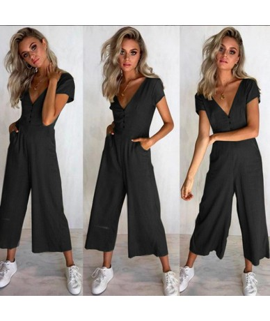 Wide Leg Pants Casual Button Female Long Jumpsuit 2018 Short Sleeve Summer Romper Sexy V Neck Women Jumpsuit With Pockets - ...