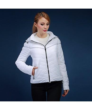 Women's winter coats 2017 spring and autumn short design Slim hooded white warm jacket plus size s-2XL V132 - white - 4B3705...