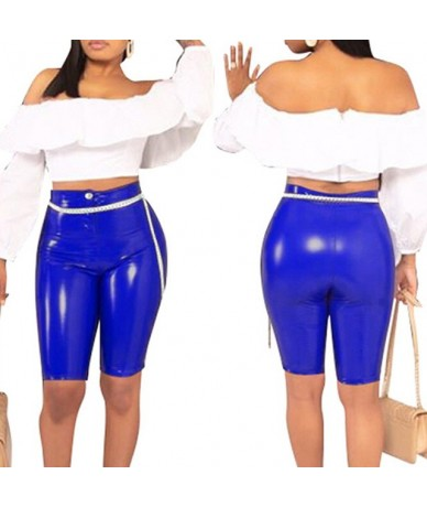 Sexy Women Sports Shorts Skinny Stretchy PU Leather High Waist 2019 Female Solid Color Fitness Sporting Push Up Short Pant -...