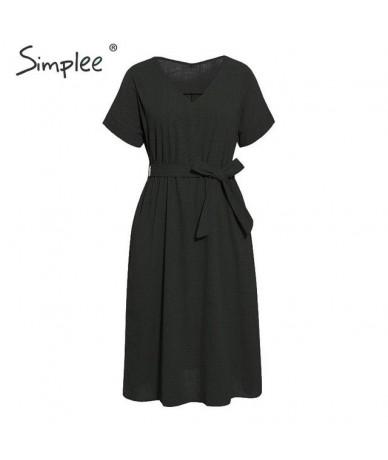 Solid cotton linen women dress Elegant v-neck sashes female midi dress Short sleeve A-line soft summer wear lady dress - Bla...