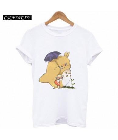 Harajuku Fashion 2017 Summer T Shirt Women Tops Funny Totoro Print Short Sleeve Camisetas Mujer White T-shirt - Pink - 4D395...