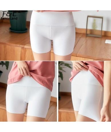 Women Casual Solid Seamless Elastic High All Seasons Waist Short Leggings Black Nude White Summer Leggings Short Trousers - ...