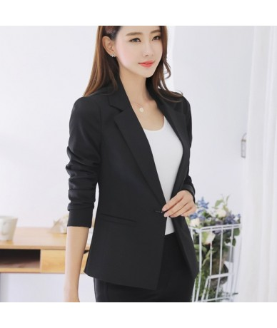 Female Coats Blazer Spring Summer Long Sleeve One Button Jacket Women balck Jackets Office Blazer - Black - 4J3973604291-1