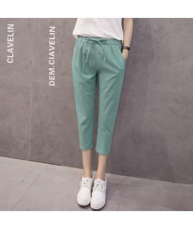 New Fashion 2019 Women's Plus Size 3XL Casual Harem Pants Capris Female Summer Loose Cotton Linen Pants Elastic Waist Trouse...