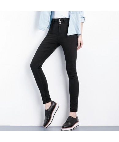 2019 High Waist Jeans button fly Full Length Plus Size black Jeans for Women Stretch Jeans Skinny Pencil women jeans - Dark ...