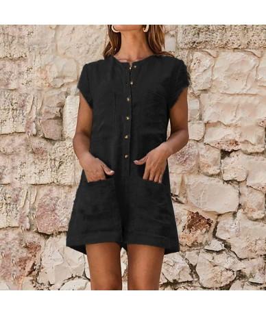 2019 Summer Women Short Jumpsuit Solid Linen Short Sleeve Casual Romper V-neck Pocket Button Ladies Jumpsuits Playsuit - Bla...