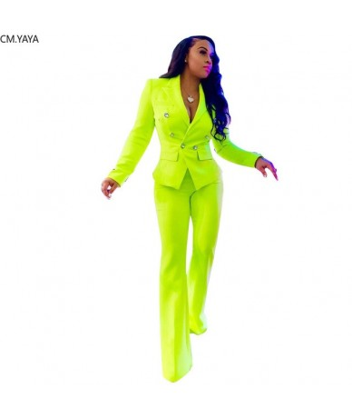2019 Winter Women office suits long sleeve Fluorescent green blazer & pants suit two piece set Lady tracksuit outfit GLD8310...