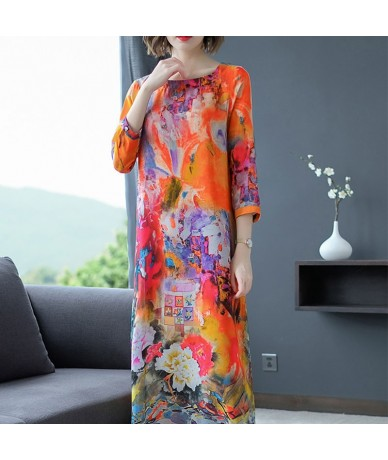 2019 Summer Fashion New Women's Cotton Linen Printed Floral Dress Women's Round Neck Short-sleeved Dress Plus Size aa355 - 4...
