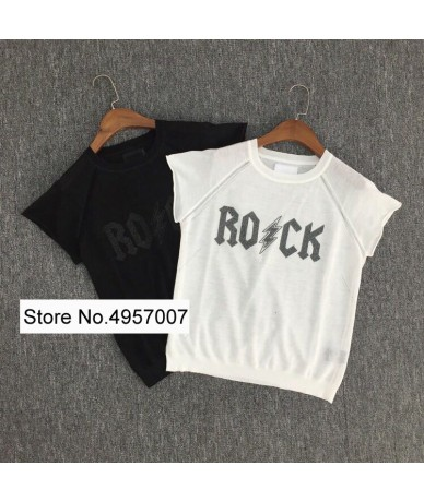Women Linen 100% Black/White Applique Letter T Shirt With Round Neck & Short Sleeve - Black - 5V111103235945-1