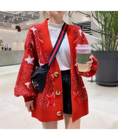 Spring New Women Sweater Coat 2019 Open Stitch Stars V neck Long Sweaters Lartern Sleeve Oversized Knit Jacket Female Coat -...