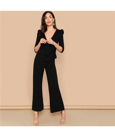 Black Puff Sleeve Surplice Wrap Palazzo Leg Jumpsuit Spring High Waist Wide Leg Deep V Neck Highstreet Women Jumpsuits - Bla...