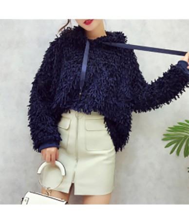 Tassel Sweatshirt For Women Hooded Collar Long Sleeve Lace Up Loose Sweatshirts Top Female Fashion New Casual 2019 - blue - ...