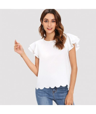 Solid Layered Ruffle Sleeve Scallop Hem Summer Tops For Women 2019 Elegant Korean Fashion Womens Tops And Blouses - White - ...