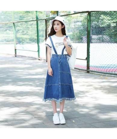 Spring Harajuku Denim Suspenders Skirts Women Japanese New Summer Korean Ulzzang High Waist Tassel Jeans Removeable Strap - ...