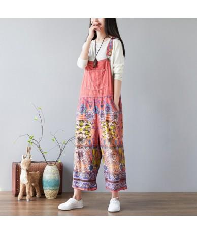 Baggy Denim Jumpsuits Female Plus Size Vintage Print Bib cowboy Pants Suspenders Harem Rompers Harajuku drop Crotch Jeans YT...
