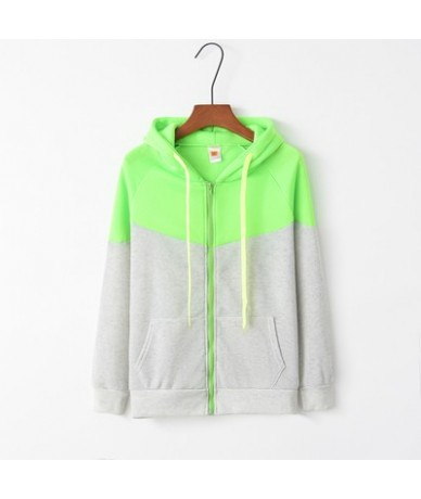 Hoodies Women 2019 Female Long Sleeve Patchwork Hooded Zipper Sweatshirt Hoodies Tracksuit Sweat Coats Casual Sportswear S-X...