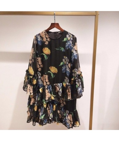 2019 New Flower Print Loose Dress Flare Sleeve Ruffle Vintage Chiffon Dress - as show picture - 4R4122821441