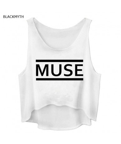 MUSE Letters Printed T shirt Black Cropped Tops Cotton Fashion Tanks Tee Womens Sleeveless Vogue Vest - White - 4S3809220547-3
