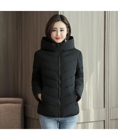 Winter Coat Women 2019 New Winter Jacket Women Parka Short Slim Thickening Warm Coats Jackets Female Outerwear Black - Black...