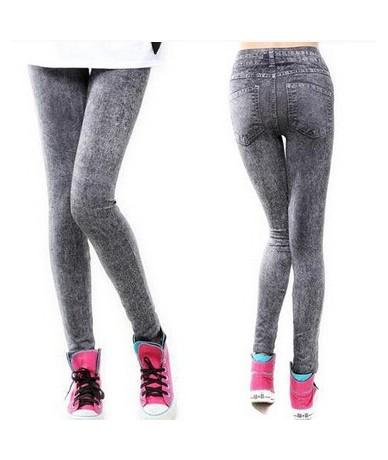 2016 Sales Spring Leggings Jeans Women Denim Pants With Pocket Slim Jeggings Fitness Plus Size Leggings 9 Colors Styles - Bl...